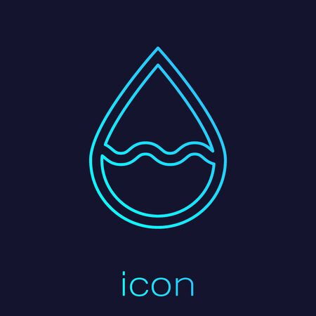 Turquoise line Water drop icon isolated on blue background. Vector Illustration Иллюстрация