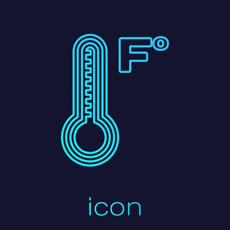 Turquoise line Meteorology thermometer measuring heat and cold icon isolated on blue background. Temperature Fahrenheit. Vector Illustration