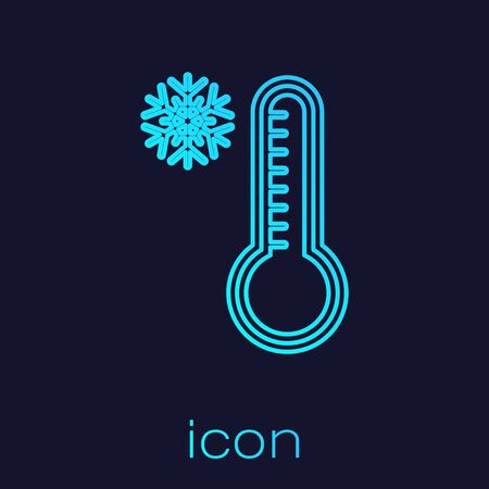 Turquoise line Meteorology thermometer measuring heat and cold icon isolated on blue background. Thermometer equipment showing hot or cold weather. Vector Illustration