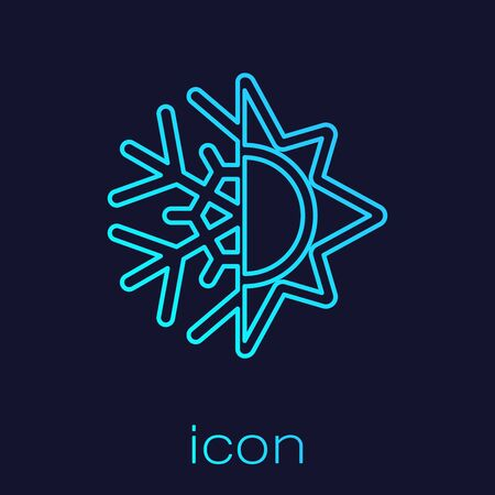 Turquoise line Hot and cold symbol. Sun and snowflake icon isolated on blue background. Winter and summer symbol. Vector Illustration