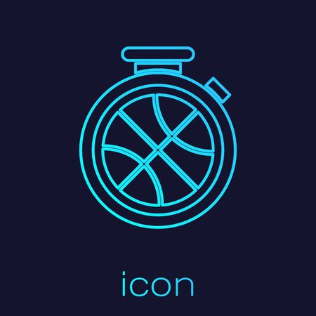 Turquoise line Stopwatch with basketball ball inside icon isolated on blue background. Basketball time. Sport and training. Vector Illustration Stok Fotoğraf - 134721820