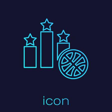 Turquoise line Basketball over sports winner podium icon isolated on blue background. Vector Illustration Ilustrace