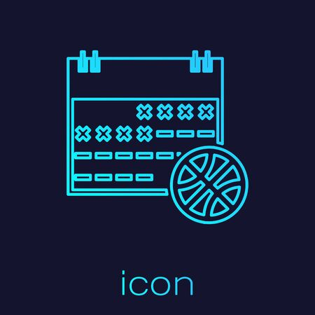Turquoise line Basketball on sport calendar icon isolated on blue background. Vector Illustration Stok Fotoğraf - 134721865
