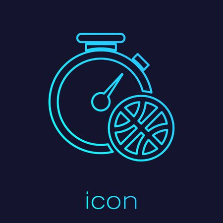 Turquoise line Stopwatch with basketball ball inside icon isolated on blue background. Basketball time. Sport and training. Vector Illustration Stok Fotoğraf - 134721869