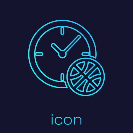 Turquoise line Clock with basketball ball inside icon isolated on blue background. Basketball time. Sport and training. Vector Illustration Çizim