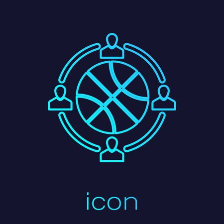 Turquoise line Clock with basketball ball inside icon isolated on blue background. Basketball time. Sport and training. Vector Illustration Stok Fotoğraf - 134721866