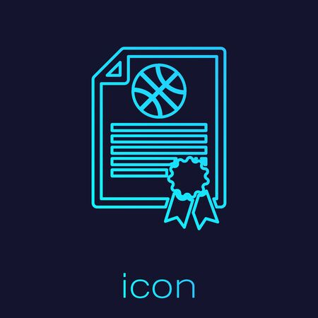 Turquoise line Certificate template basketball award icon isolated on blue background. Achievement, award, degree, grant, diploma concepts. Vector Illustration