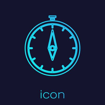 Turquoise line Compass icon isolated on blue background. Windrose navigation symbol. Wind rose sign. Vector Illustration
