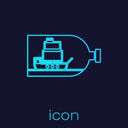 Turquoise line Glass bottle with ship inside icon isolated on blue background. Miniature model of marine vessel. Hobby and sea theme. Vector Illustration Stockfoto - 134721931