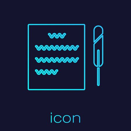 Turquoise line Feather pen and paper scroll icon isolated on blue background. Vector Illustration