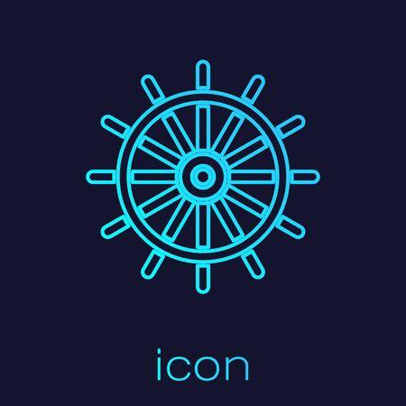 Turquoise line Ship steering wheel icon isolated on blue background. Vector Illustration Stock Illustratie