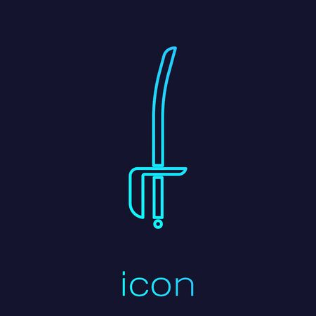 Turquoise line Pirate sword icon isolated on blue background. Sabre sign. Vector Illustration