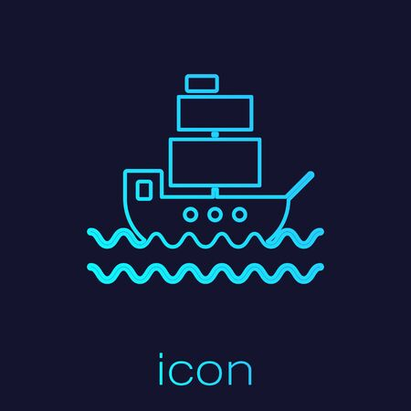 Turquoise line Ship icon isolated on blue background. Vector Illustration