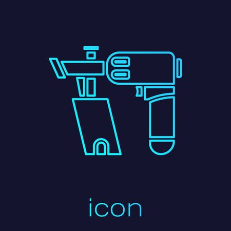 Turquoise line Nail gun icon isolated on blue background. Vector Illustration