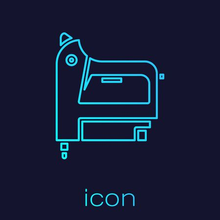 Turquoise line Electric construction stapler icon isolated on blue background. Working tool.  Vector Illustration