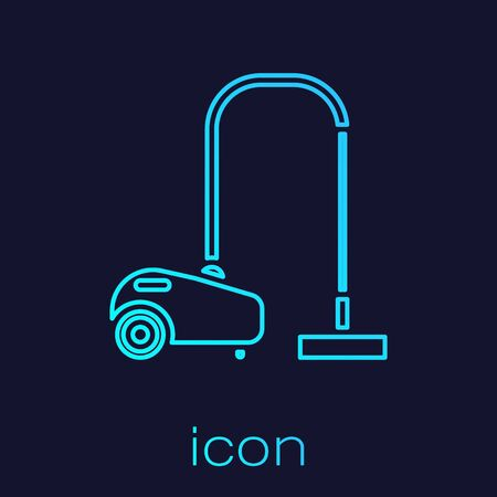 Turquoise line Vacuum cleaner icon isolated on blue background. Vector Illustration