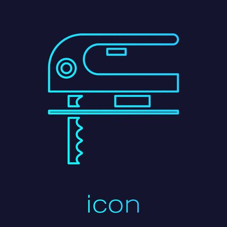 Turquoise line Electric jigsaw with steel sharp blade icon isolated on blue background. Power tool for woodwork. Vector Illustration Иллюстрация