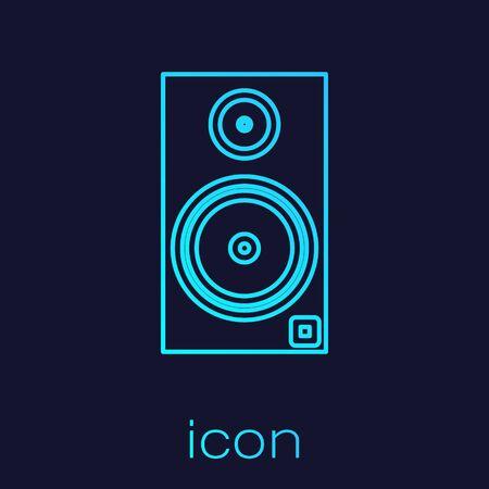 Turquoise line Stereo speaker icon isolated on blue background. Sound system speakers. Music icon. Musical column speaker bass equipment. Vector Illustration