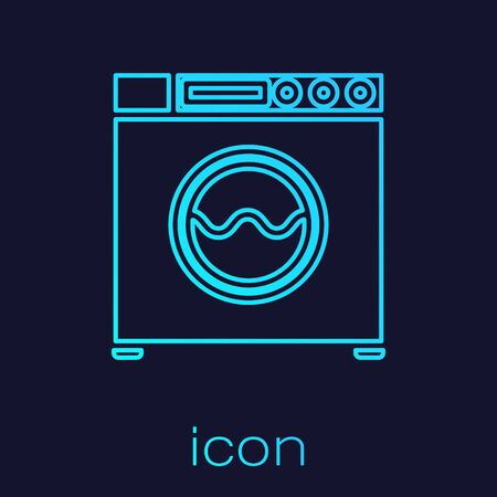 Turquoise line Washer icon isolated on blue background. Washing machine icon. Clothes washer - laundry machine. Home appliance symbol. Vector Illustration Ilustração
