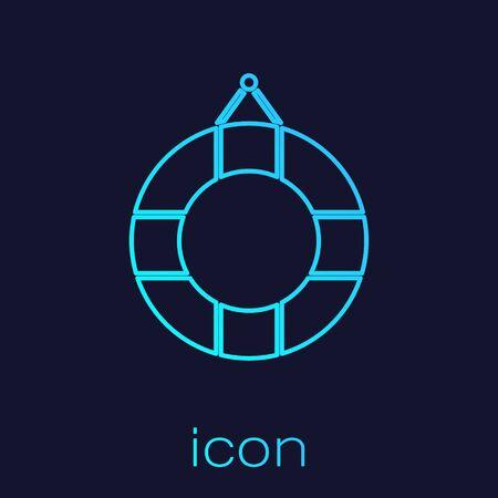 Turquoise line Lifebuoy icon isolated on blue background. Lifebelt symbol. Vector Illustration Stock Illustratie