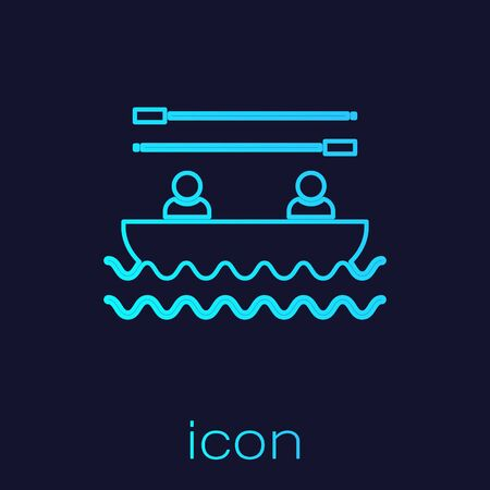Turquoise line Boat with oars and people icon isolated on blue background. Water sports, extreme sports, holiday, vacation, team building. Vector Illustration