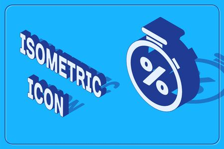 Isometric Stopwatch and percent discount icon isolated on blue background. Time timer sign.  Vector Illustration