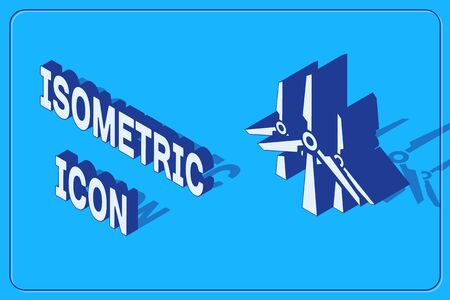 Isometric Wind turbines icon isolated on blue background. Wind generator sign. Windmill silhouette. Windmills for electric power production. Vector Illustration