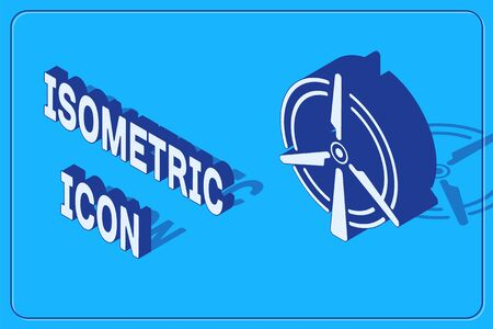 Isometric Rotating wind turbine icon isolated on blue background. Wind generator sign. Windmill for electric power production.  Vector Illustration