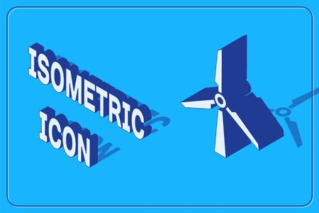 Isometric Wind turbine icon isolated on blue background. Wind generator sign. Windmill silhouette. Windmill for electric power production.  Vector Illustration 일러스트