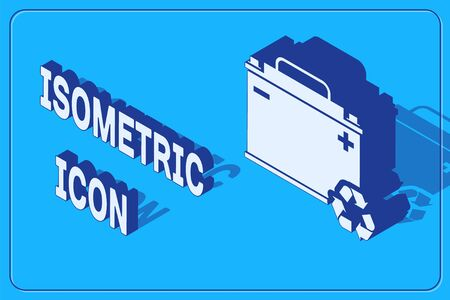 Isometric Car battery with recycle icon isolated on blue background. Accumulator battery energy power and electricity accumulator battery.  Vector Illustration