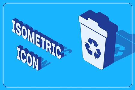 Isometric Recycle bin with recycle symbol icon isolated on blue background. Trash can icon. Garbage bin sign. Recycle basket sign.  Vector Illustration Stock Vector - 134729043