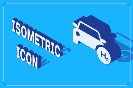 Isometric Hydrogen car icon isolated on blue background. H2 station sign. Hydrogen fuel cell car eco environment friendly zero emission.  Vector Illustration