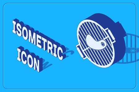 Isometric Barbecue grill with steak icon isolated on blue background. BBQ grill party. Vector Illustration