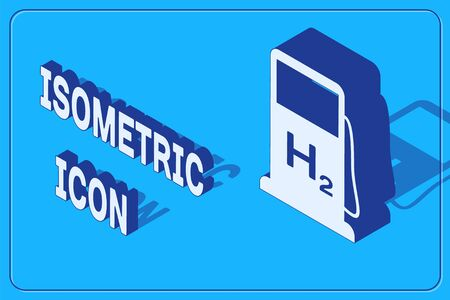 Isometric Hydrogen filling station icon isolated on blue background. H2 station sign.  Vector Illustration  イラスト・ベクター素材