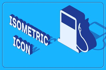 Isometric Petrol or Gas station icon isolated on blue background. Car fuel symbol. Gasoline pump. Vector Illustration  イラスト・ベクター素材