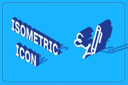 Isometric Signature line icon isolated on blue background. Pen and undersign, underwrite, ratify symbol. Vector Illustration
