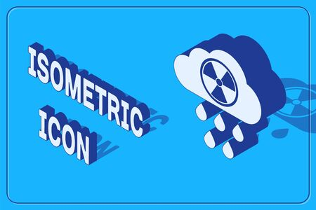 Isometric Acid rain and radioactive cloud icon isolated on blue background. Effects of toxic air pollution on the environment. Vector Illustration