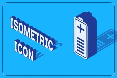 Isometric Battery charge level indicator icon isolated on blue background. Vector Illustration