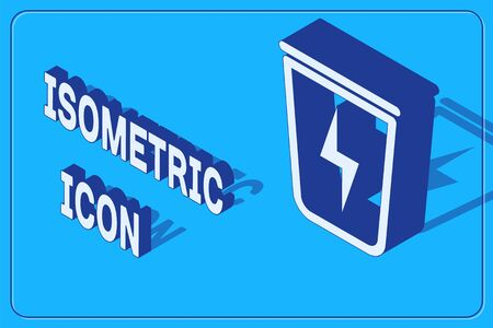 Isometric Lightning with trash can icon isolated on blue background. Waste to energy. Garbage bin sign. Recycle basket sign. Vector Illustration