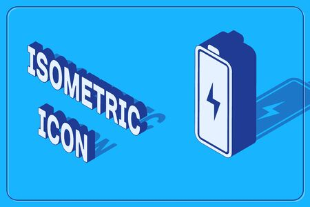 Isometric Battery icon isolated on blue background. Lightning bolt symbol. Vector Illustration