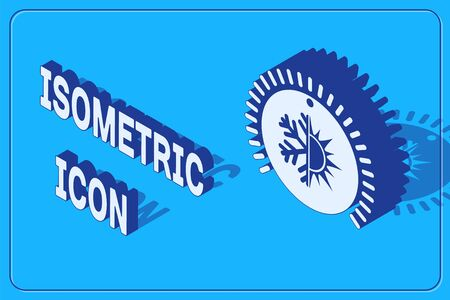 Isometric Thermostat icon isolated on blue background. Temperature control.  Vector Illustration 일러스트