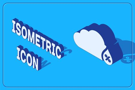 Isometric Humidity icon isolated on blue background. Weather and meteorology, cloud, thermometer symbol.  Vector Illustration 일러스트