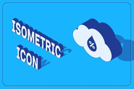 Isometric Humidity icon isolated on blue background. Weather and meteorology, cloud, thermometer symbol. Vector Illustration