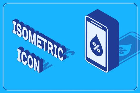 Isometric Humidity for smart home icon isolated on blue background. Weather and meteorology, thermometer symbol. Vector Illustration