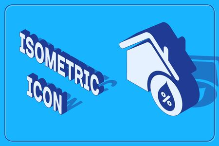 Isometric House humidity icon isolated on blue background. Weather and meteorology, thermometer symbol.  Vector Illustration