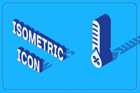 Isometric Humidity icon isolated on blue background. Weather and meteorology, thermometer symbol. Vector Illustration