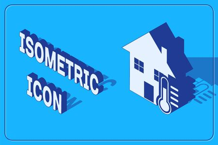 Isometric House temperature icon isolated on blue background. Thermometer icon.  Vector Illustration 일러스트