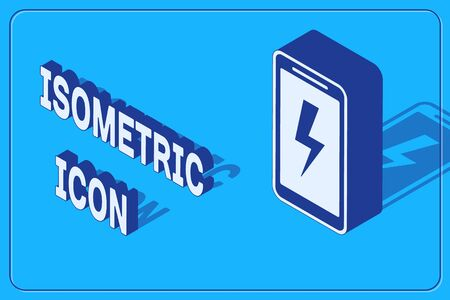 Isometric Smartphone charging battery icon isolated on blue background. Phone with a low battery charge.  Vector Illustration 向量圖像