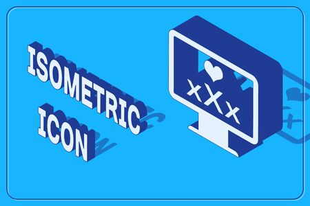 Isometric Computer monitor with 18 plus content heart icon isolated on blue background. Age restriction symbol. XXX content sign. Adult channel. Vector Illustration