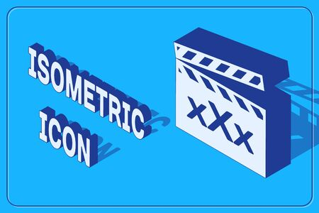 Isometric Movie clapper with inscription XXX icon isolated on blue background. Age restriction symbol. 18 plus content sign. Adult channel. Vector Illustration